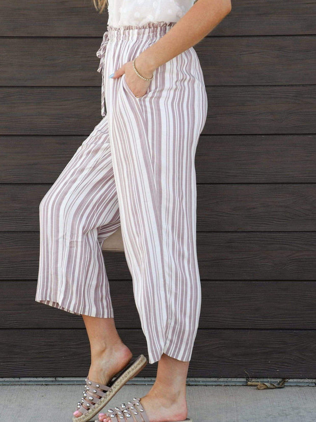 Cropped Ankle Length Stripe Pants