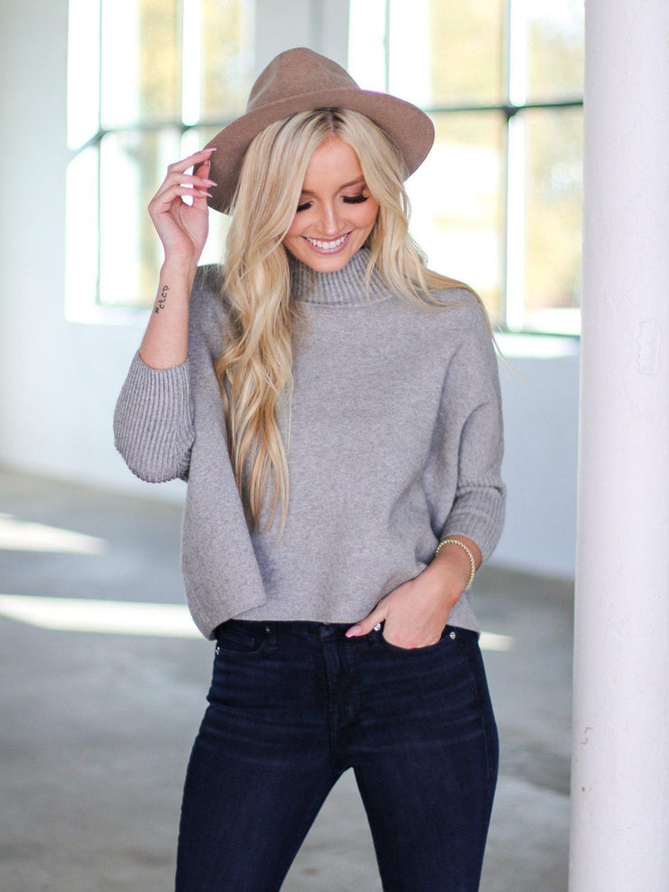 Mock Neck Cropped Sweater