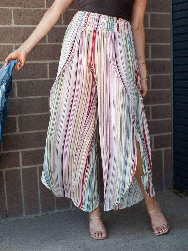 Overlapped Striped Soft Pants