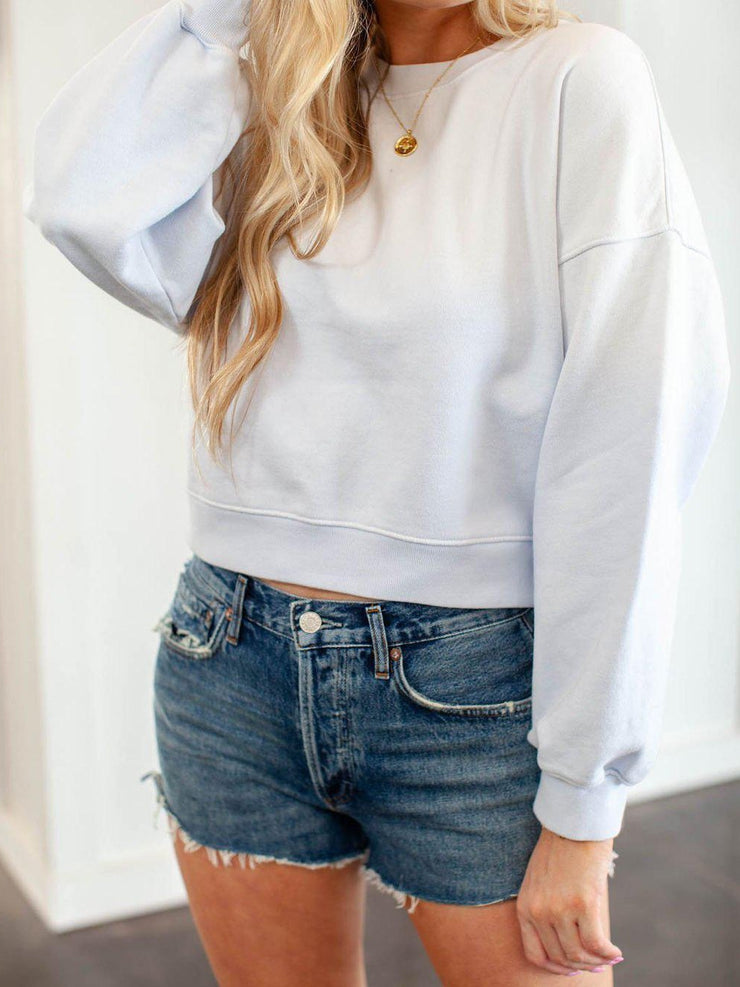 AGOLDE Drop Shoulder Basic Cropped Sweatshirt