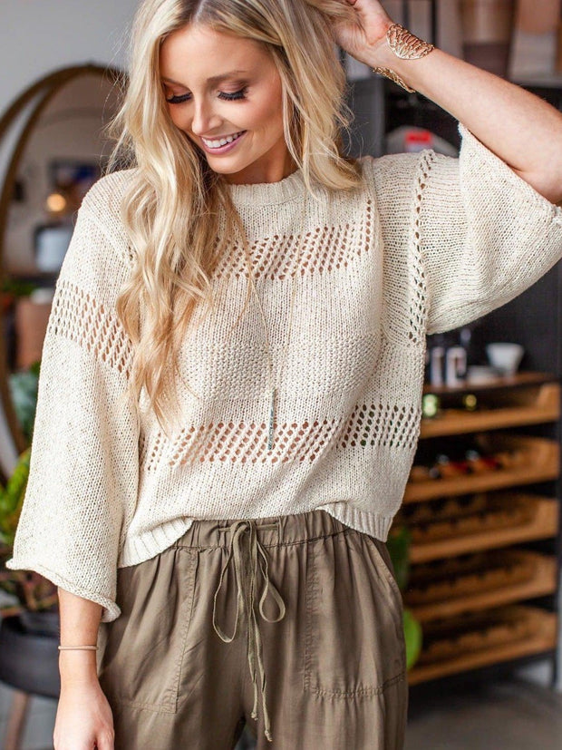 Gentle Fawn Open Knit Three Quarter Sleeve Sweater