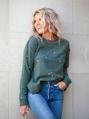 Embroidered Drop Sleeve Sweatshirt