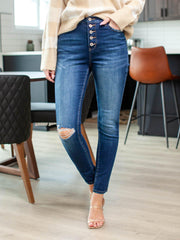 exposed knee destruct denim