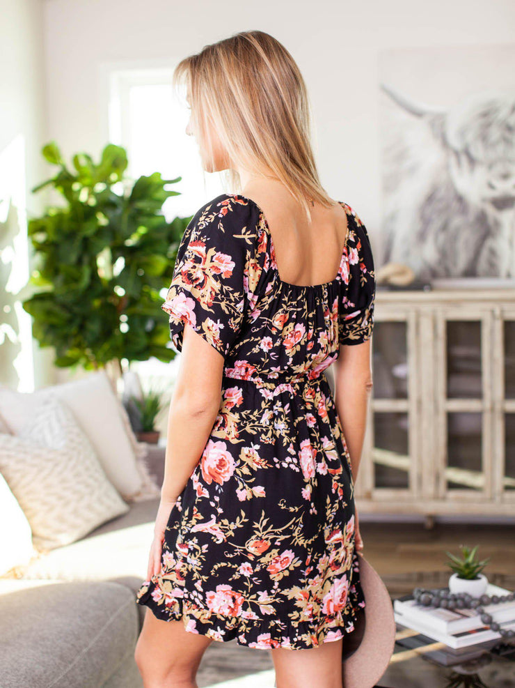 bold floral mini dress