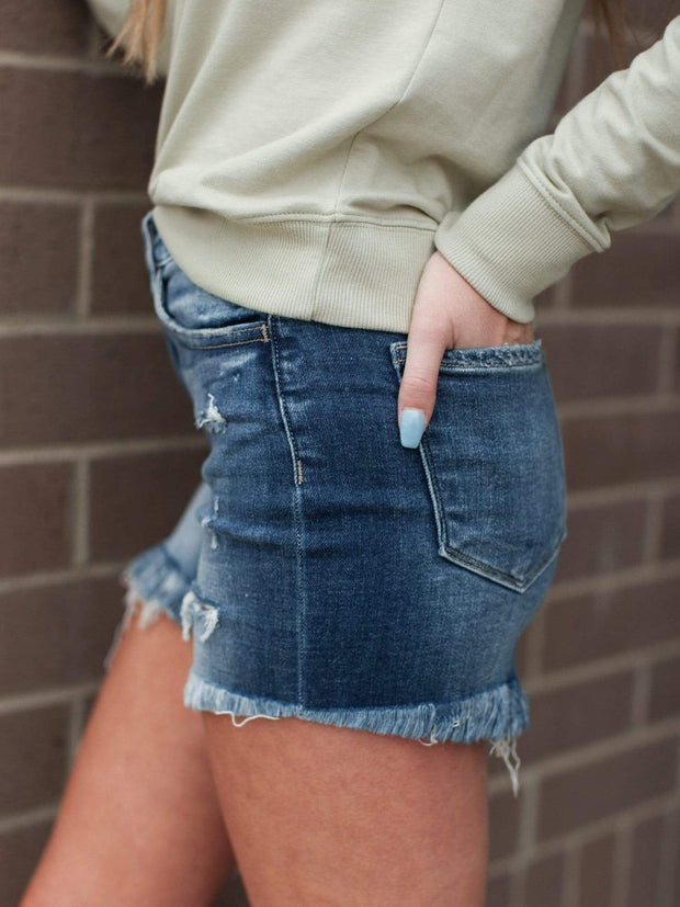 Flying Monkey distressed Hemline Shorts