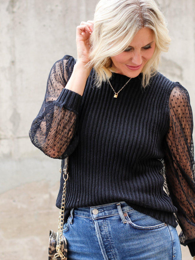 Sheer Sleeve Sweater