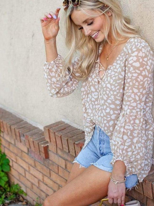 Animal Print Puff Sleeves