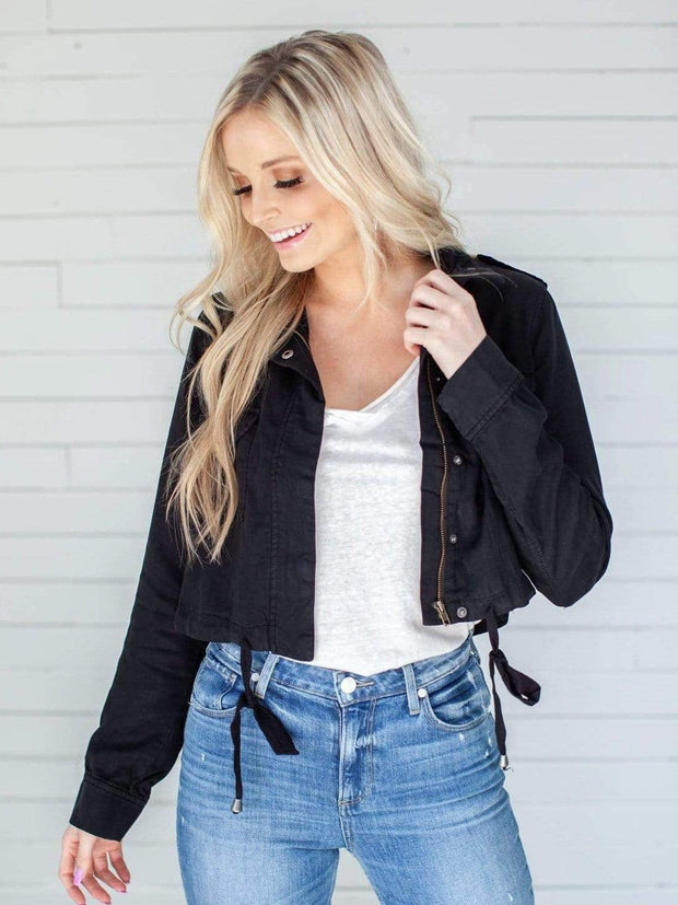 Cropped Zip Front Jacket