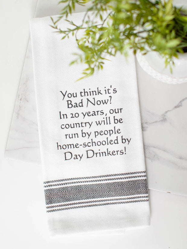 home school day drinkers dish towel
