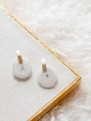 Circular Stone Drop Earrings