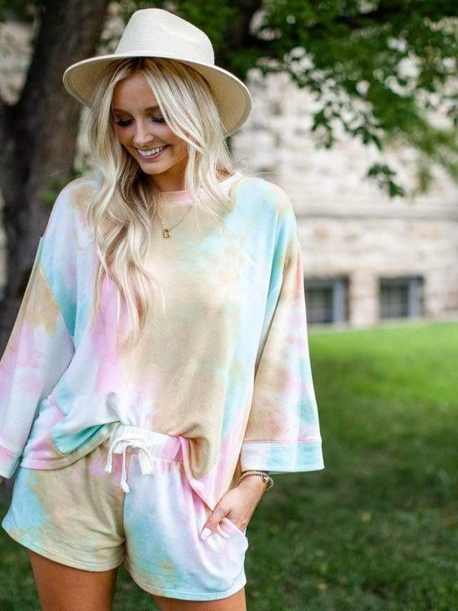 bright tie dye top