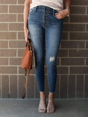 KUT Exposed Fly High Rise Ankle JEan