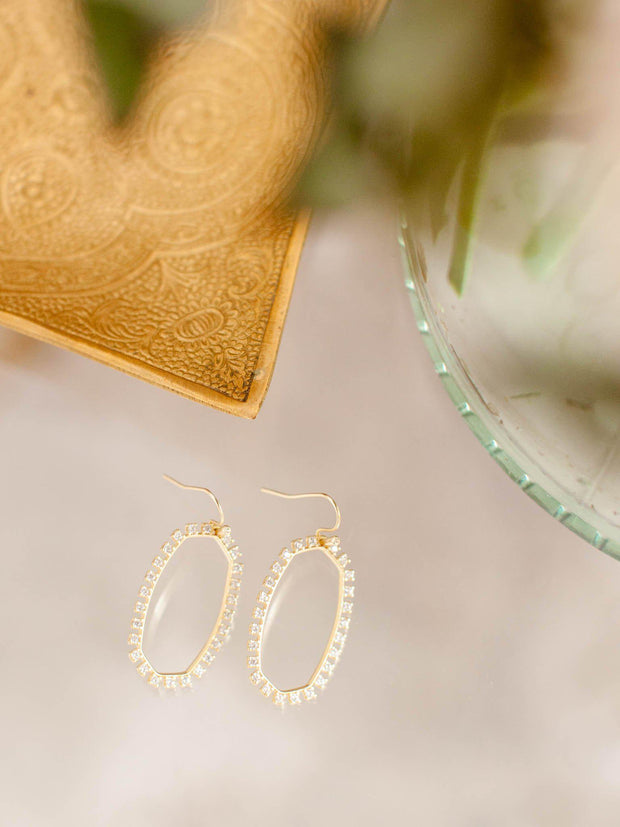 open frame crystal accent earrings