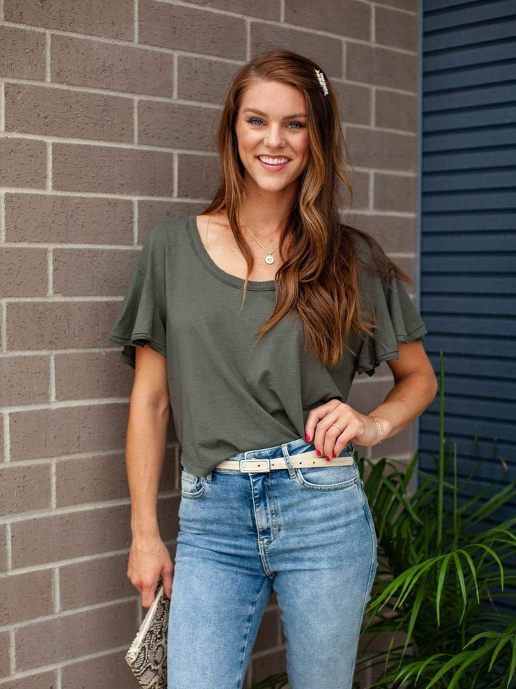 Free People Solid Ruffle Flutter Top