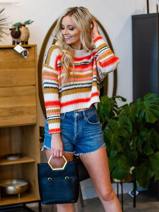 Billabong Textured Stripe Cropped Sweater