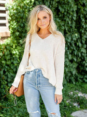Drop Shoulder V-Neck sweater
