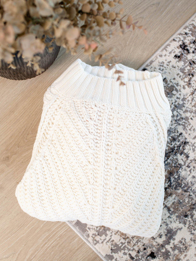 ivory sweetheart ribbed sweater