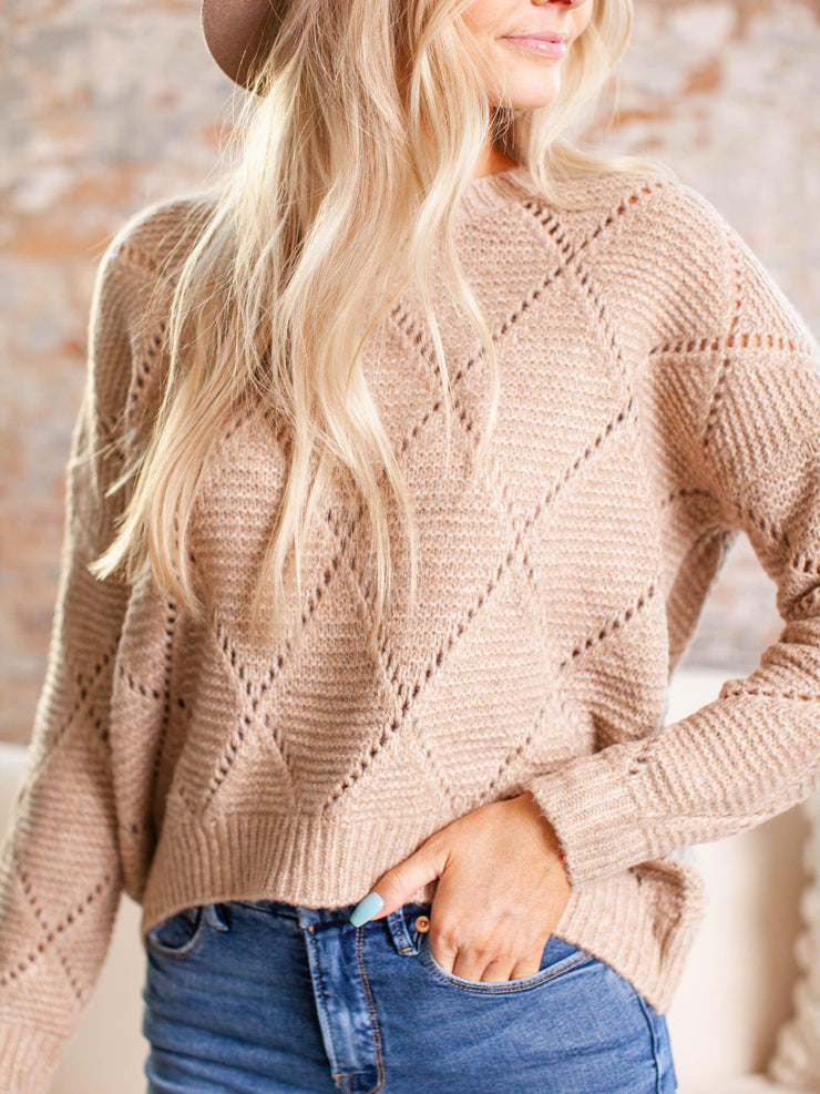rib contrast knit sweater