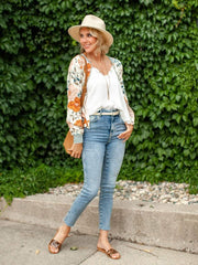 Saltwater Luxe Floral Zip Front Cropped Bomber Jacket