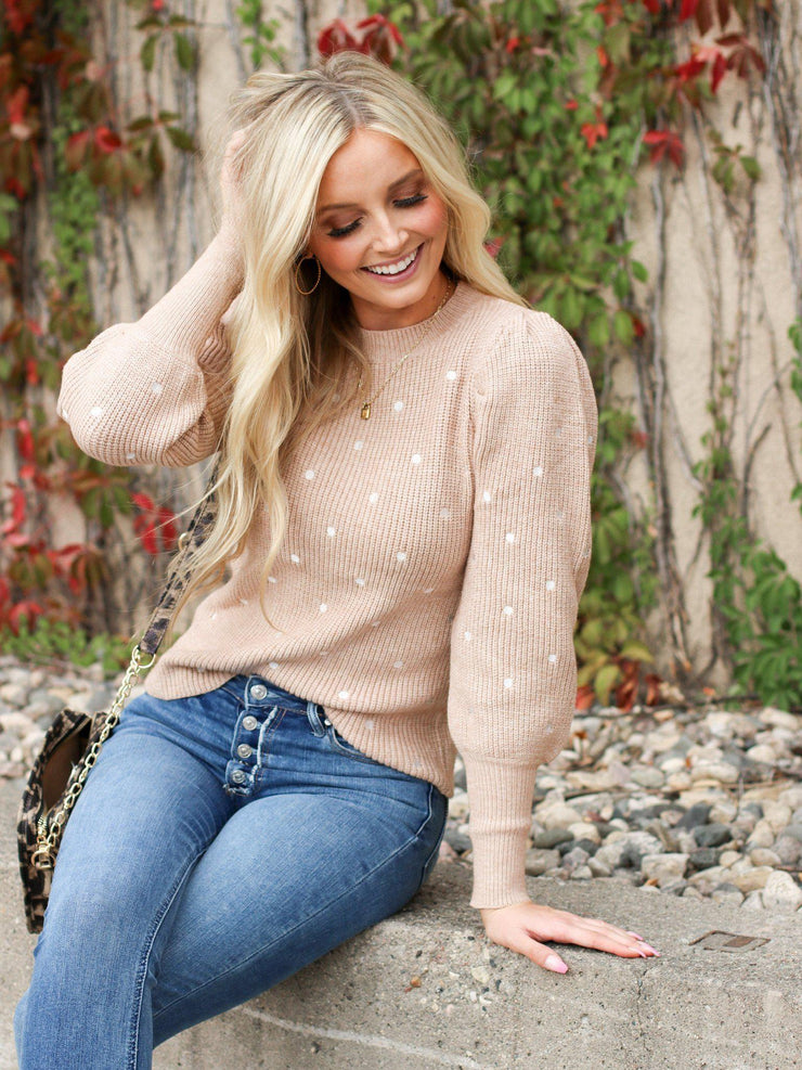 Polka Dot Ballooned sleeve Sweater