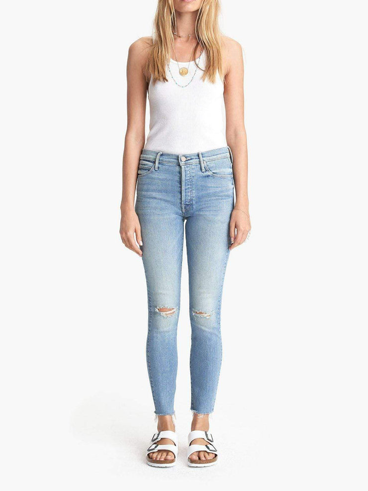 MOTHER Slit Knee Destructed Denim