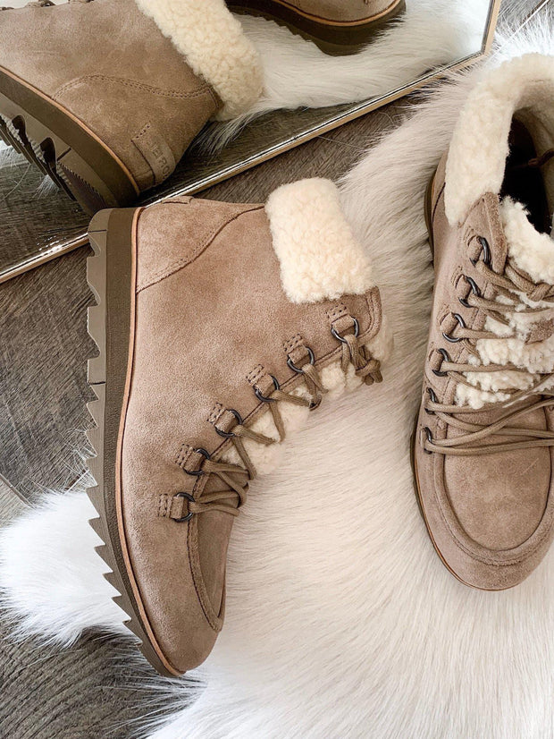 SOREL cozy shearling lace up bootie