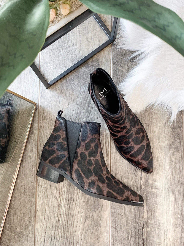 leopard metal toe Marc Fisher bootie