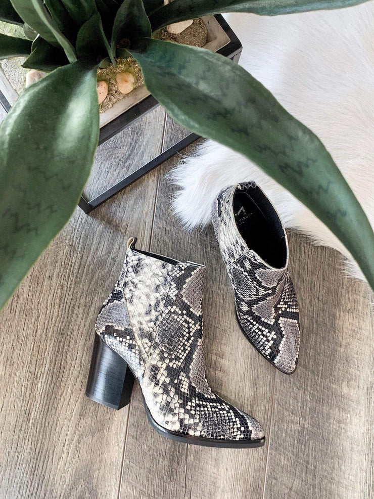 Marc Fisher snake print booties