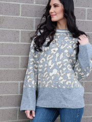 leopard grey oversized sweater