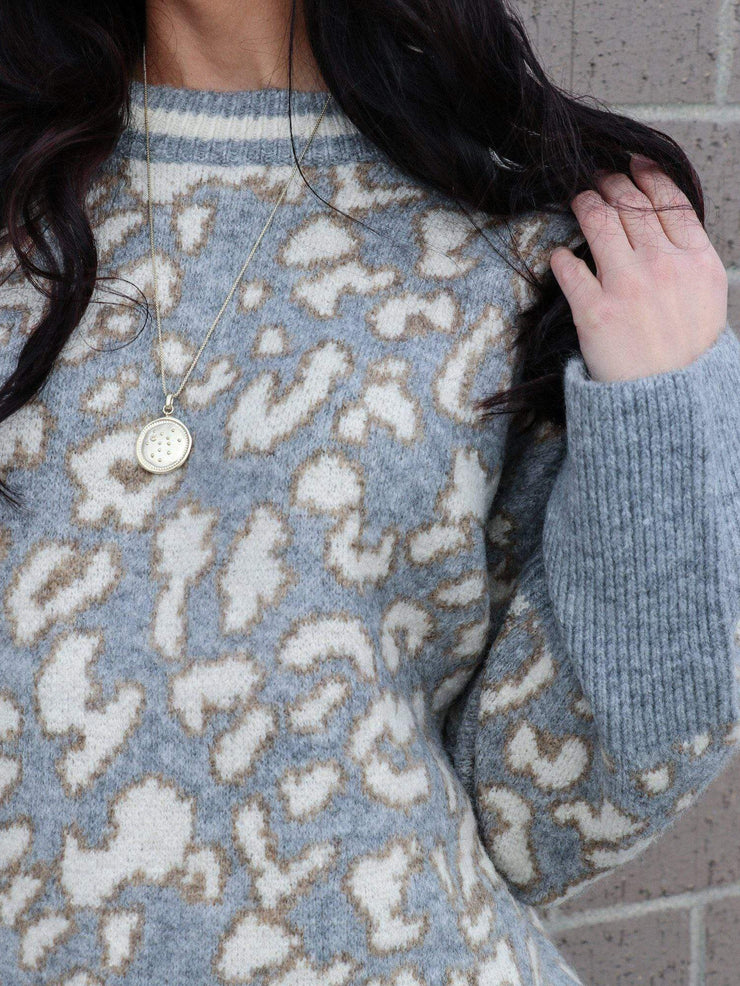 gray leopard rib trim sweater