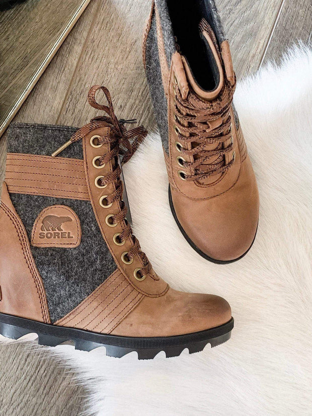 Sorel lace up wedge bootie
