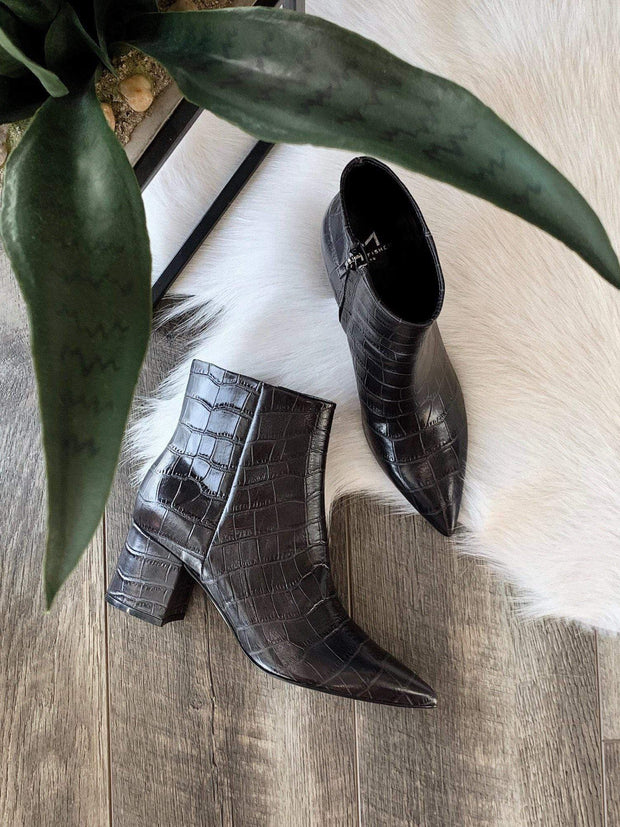 Marc Fisher black croc booties