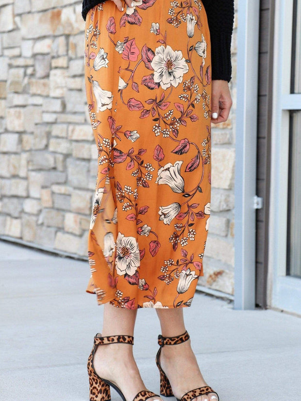floral saltwater luxe skirt mustard