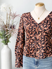 Button Cuff Printed Button Down Blouse