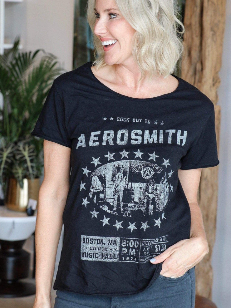 aerosmith black short sleeve tee