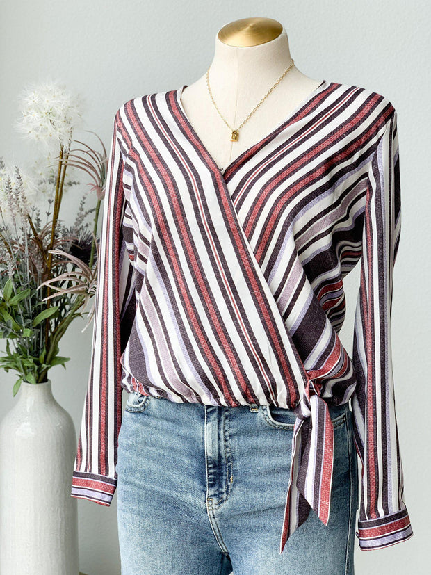 BB Dakota Along The Lines Stripe Woven Tie Front Top