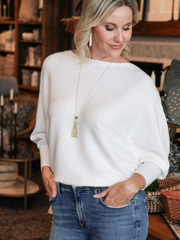 ivory ribbed dolman sweater
