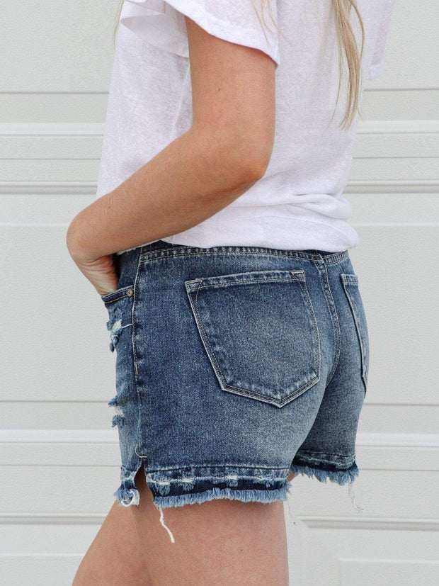 medium wash denim short