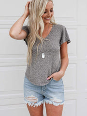 heather grey v neck tee