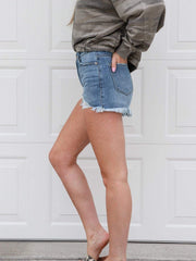 KanCan Hazel High Rise Chew Hem Shorts