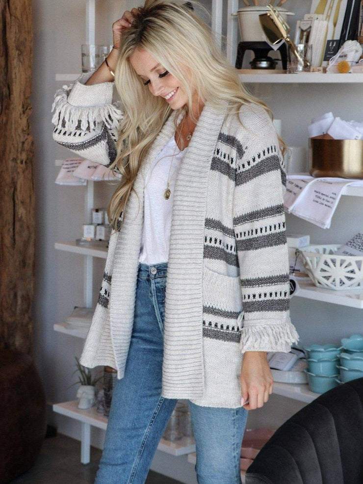 striped fringe sweater cardigan