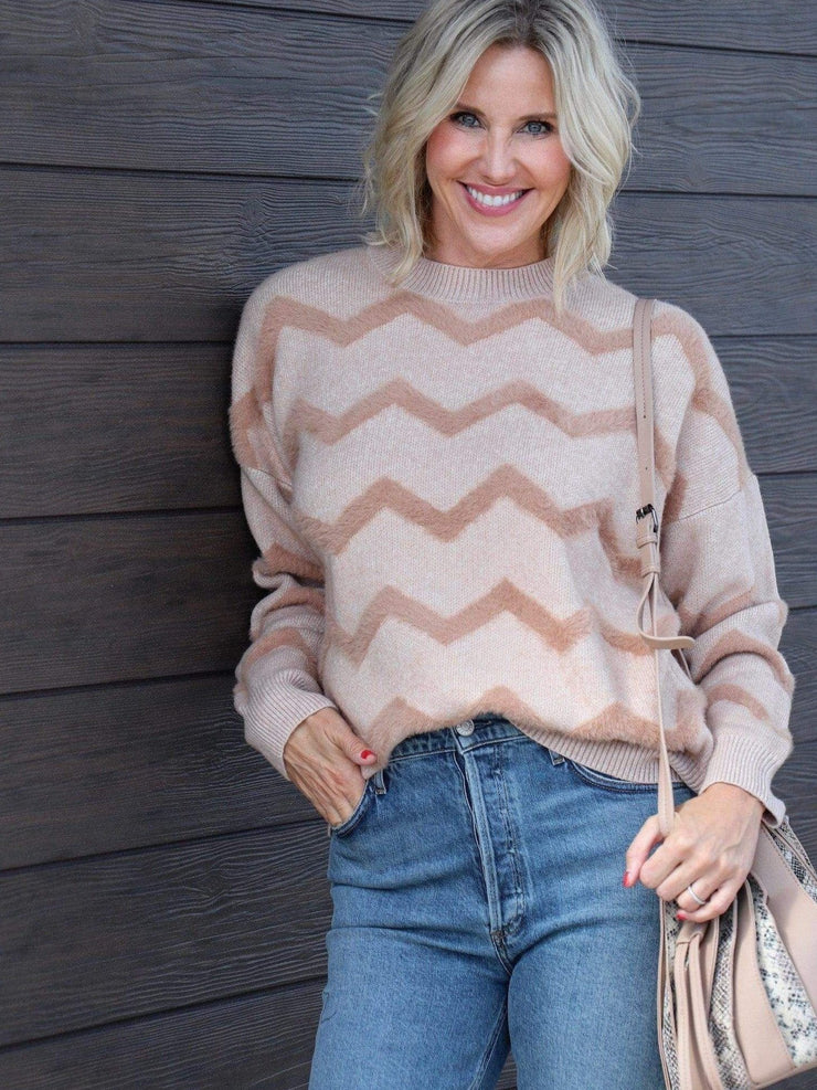 chevron crew sweater