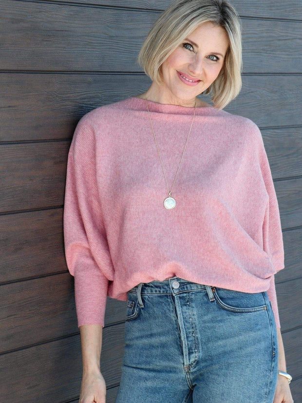 dusty pink ribbed dolman sleeve sweater