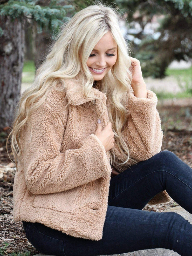 taupe teddy coat