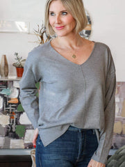 heather gray seam front sweater