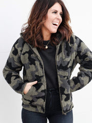 Barefoot Dreams Camo Zip Up Hoodie