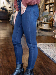 high rise button front skinny jean