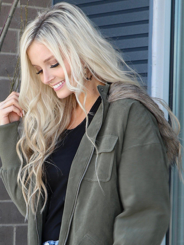 olive faux fur hood jacket