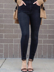 just black destructed washed black skinny jean