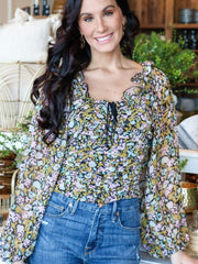 Free People Cropped Ruffle Detail Blouse